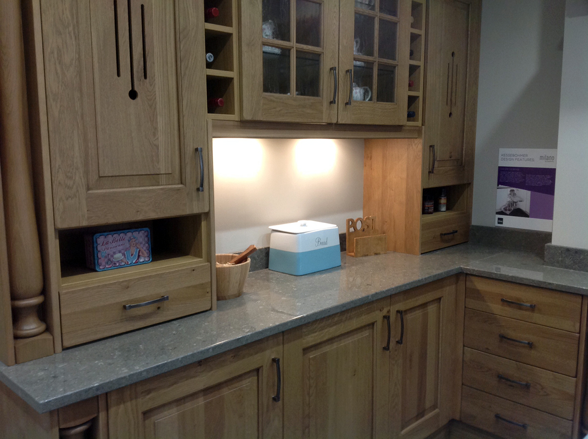 kitchen worktops made with Mandale fossil limestone