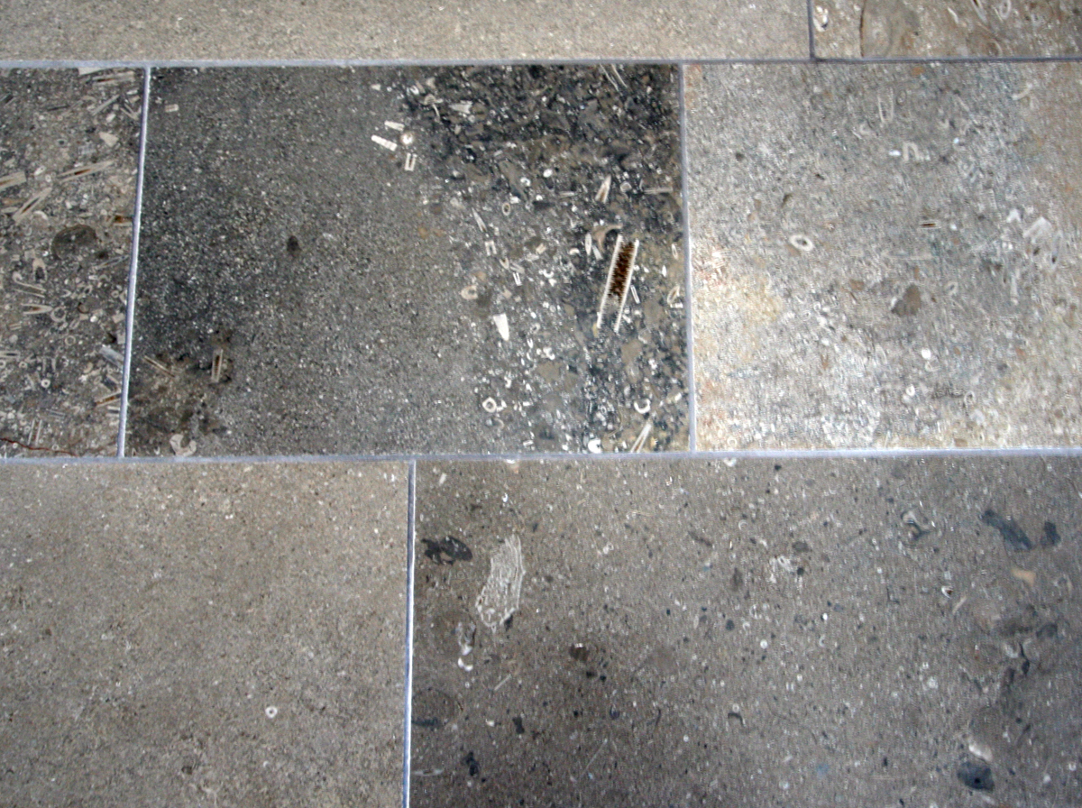 floor tiles made with Mandale fossil limestone