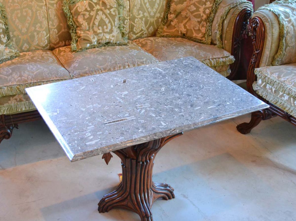 table top made with Mandale fossil limestone
